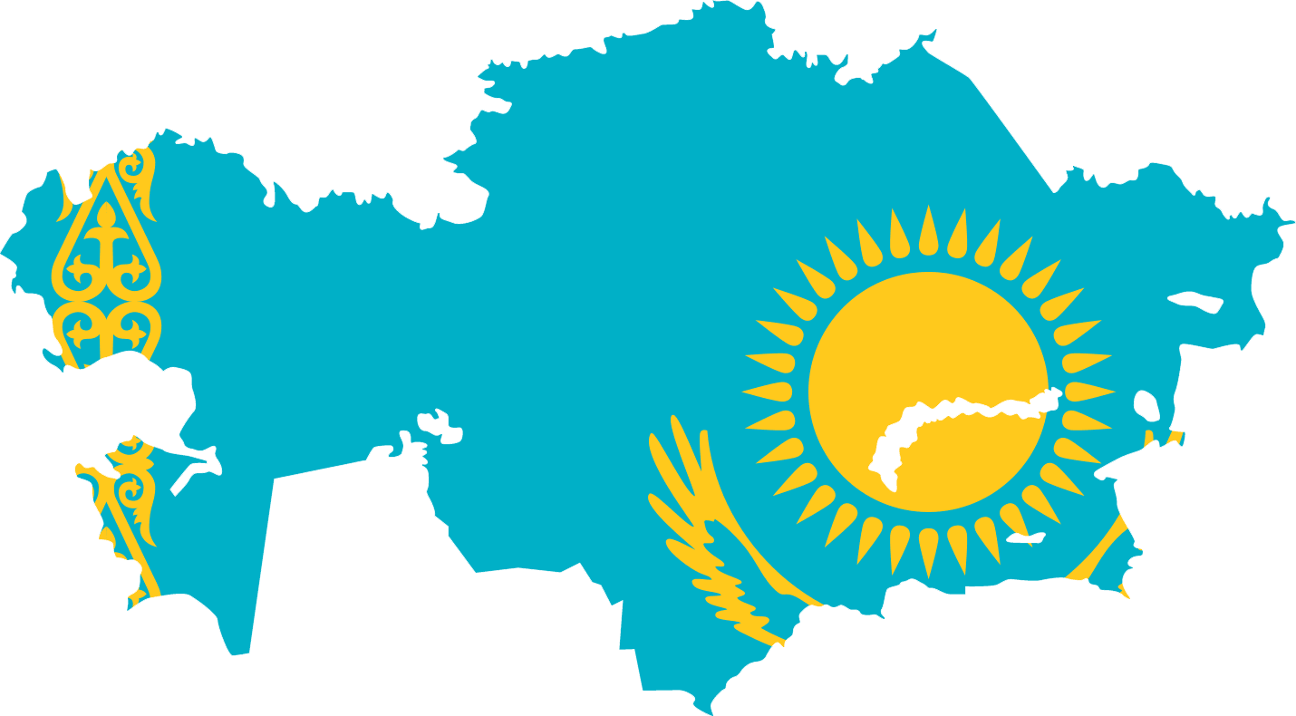 kazakhstan flag map